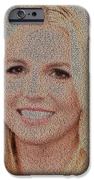 Montage Drawings iPhone Cases - Britney Jean Spears Lyrics Mosaic iPhone Case by Paul Van Scott