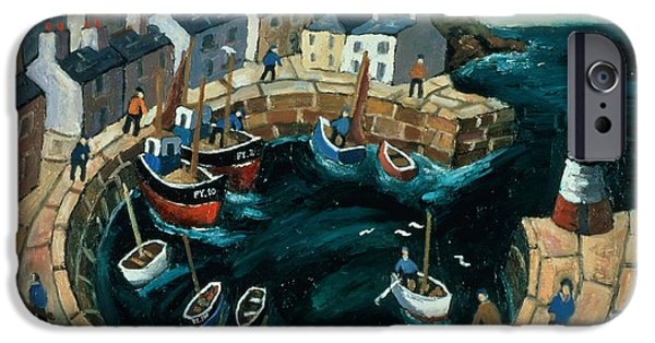 Trawler iPhone Cases - Brittany Harbour Oil On Board iPhone Case by William Cooper