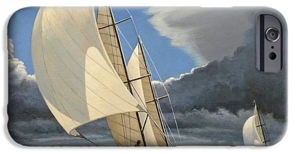 Sailboat Paintings iPhone Cases - Broad Reach iPhone Case by Paul Krapf