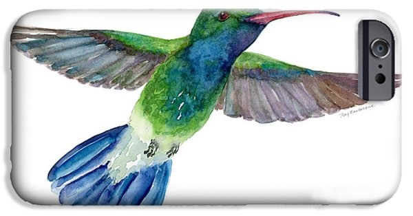 Flight iPhone Cases - BroadBilled Fan Tail Hummingbird iPhone Case by Amy Kirkpatrick