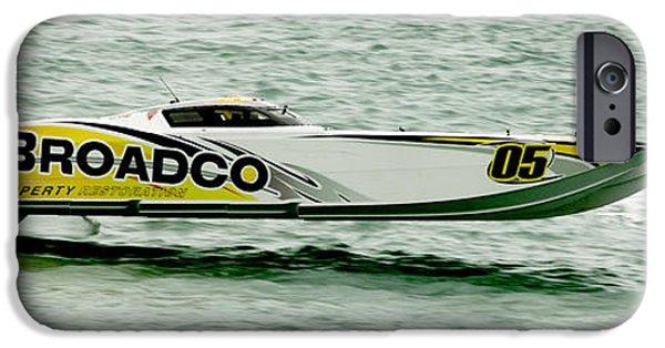 Racing iPhone Cases - Broadco Race Boat iPhone Case by Jon Neidert