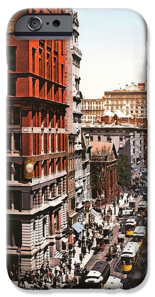 Horse And Buggy iPhone Cases - Broadway And Dey Street New York 1900 iPhone Case by Unknown