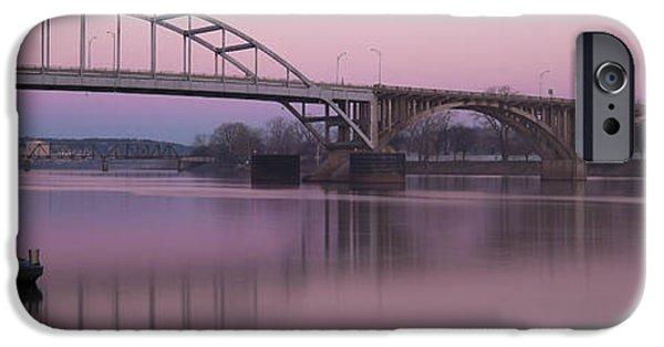 Arkansas iPhone Cases - Broadway Bridge Sunrise iPhone Case by Ray Devlin