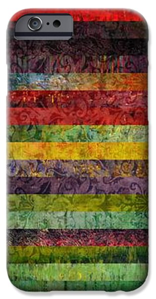 Rust iPhone Cases - Brocade and Stripes Tower 1.0 iPhone Case by Michelle Calkins