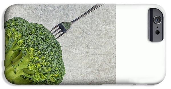 Stainless Steel iPhone Cases - Broccoli met vork iPhone Case by Patricia Hofmeester