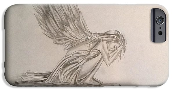 Angelic Drawings iPhone Cases - Broken Angel iPhone Case by Shelby Rawlusyk