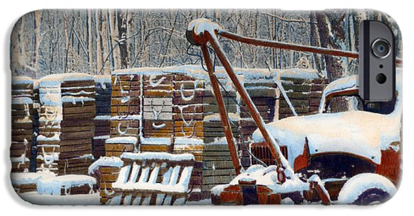 Winter In Maine Paintings iPhone Cases - Broken Down iPhone Case by Cindy McIntyre