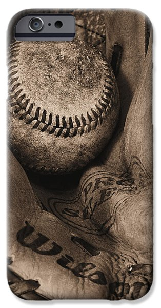 Ball And Glove iPhone Cases - Broken In BW iPhone Case by JC Findley