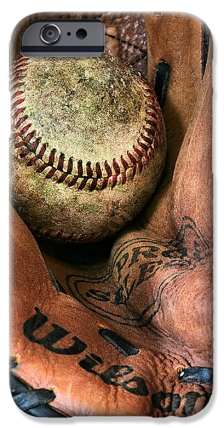 Ball And Glove iPhone Cases - Broken In iPhone Case by JC Findley