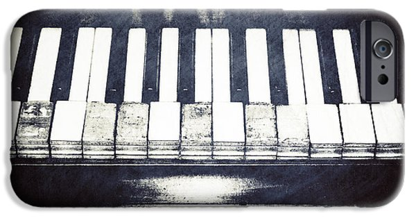 Piano iPhone Cases - Broken Keys in Black and White iPhone Case by Emily Enz