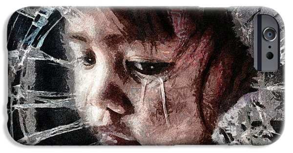 Drama Mixed Media iPhone Cases - Broken iPhone Case by Mo T
