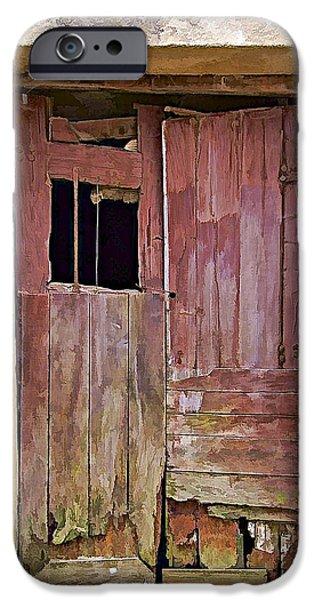 Abandonment iPhone Cases - Broken Red Wood Door iPhone Case by David Letts