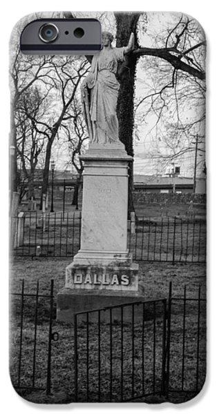 Final Resting Place iPhone Cases - Broken Statue on Tombstone iPhone Case by Robert Hebert