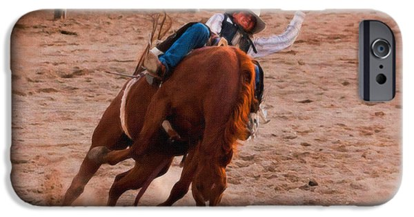 Independence Day Paintings iPhone Cases - Bronc Rider 002 iPhone Case by Dean Wittle