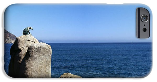 Coastal Places iPhone Cases - Bronze Leopard Statue On A Boulder iPhone Case by Panoramic Images