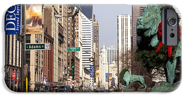 American Flag iPhone Cases - Bronze Lion Statue In Front iPhone Case by Panoramic Images