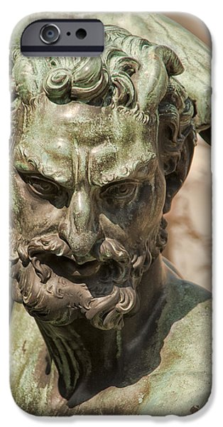 Statue Portrait iPhone Cases - Bronze Satyr in the Fountain of Neptune of Florence iPhone Case by Melany Sarafis