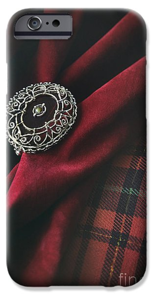 Engraving iPhone Cases - Brooch with red velvet and green plaid iPhone Case by Sandra Cunningham