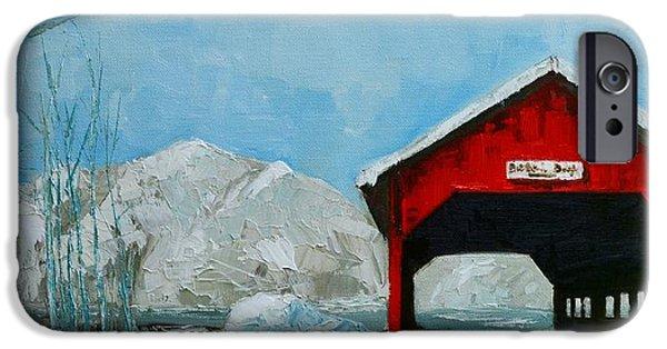 Covered Bridge Paintings iPhone Cases - Brookdale Bridge Vermont Stowe Winter Scene iPhone Case by Patricia Awapara