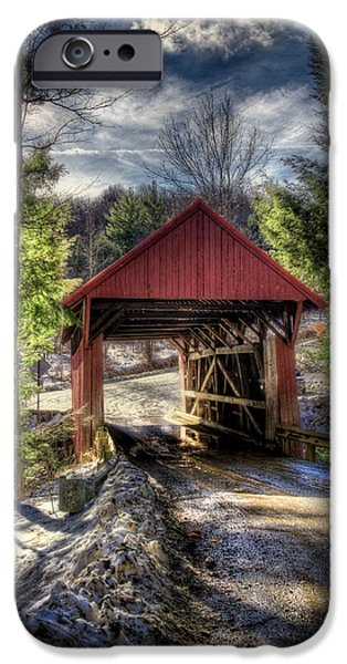New England Snow Scene iPhone Cases - Sterling Covered Bridge - Stowe Vermont iPhone Case by Joann Vitali