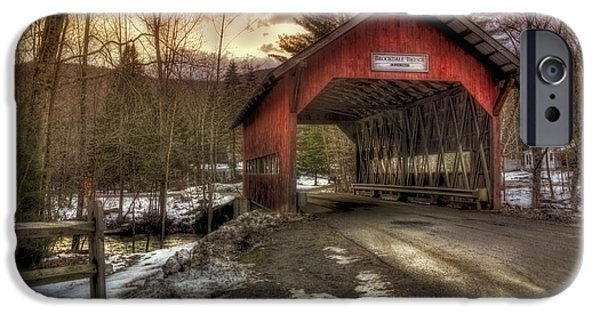 New England Snow Scene iPhone Cases - Brookdale Covered Bridge - Stowe VT iPhone Case by Joann Vitali