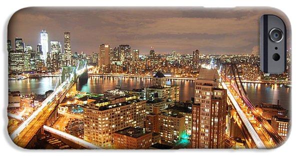Asphalt iPhone Cases - Brooklyn and Manhattan Bridge iPhone Case by HQ Photo