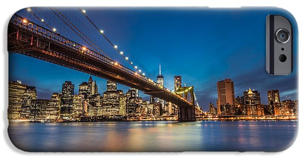 Hudson River iPhone Cases - Brooklyn Bridge - Manhattan Skyline iPhone Case by Larry Marshall