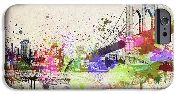 Downtown Mixed Media iPhone Cases - Brooklyn Bridge iPhone Case by Aged Pixel