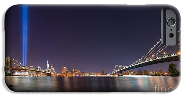 Manhatan iPhone Cases - Brooklyn Bridge and Manhattan Bridge Pano iPhone Case by Michael Ver Sprill