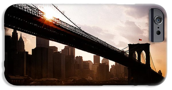Best Sellers -  - Built Structure iPhone Cases - Brooklyn Bridge and Skyline Manhattan New York City iPhone Case by Sabine Jacobs