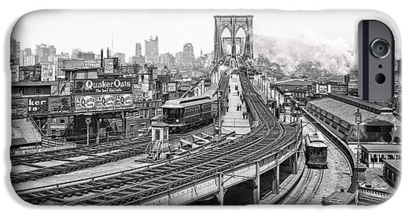 Horse And Buggy iPhone Cases - BROOKLYN BRIDGE and TERMINAL - 1903 iPhone Case by Daniel Hagerman