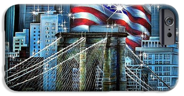 Star Spangled Banner Paintings iPhone Cases - Brooklyn Bridge and USA flag. Patriotic art iPhone Case by Sofia Metal Queen