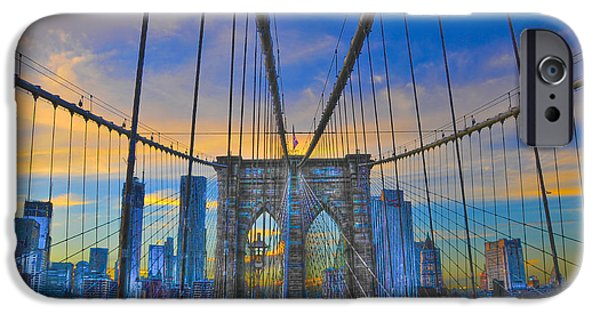 Gloaming iPhone Cases - Brooklyn Bridge at Dusk iPhone Case by Randy Aveille