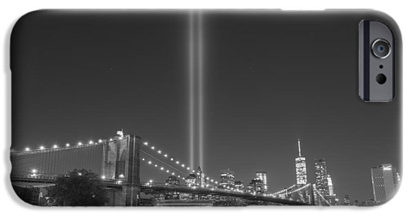 Patriots iPhone Cases - Brooklyn Bridge At Night BnW  iPhone Case by Michael Ver Sprill