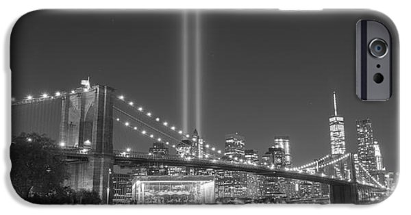 Manhatan iPhone Cases - Brooklyn Bridge At Night BnW wide crop  iPhone Case by Michael Ver Sprill