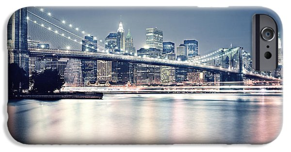 Brooklyn Bridge Digital Art iPhone Cases - Brooklyn Bridge at Night iPhone Case by Gianfranco Weiss