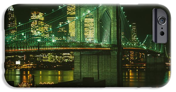 Twin Towers Nyc iPhone Cases - Brooklyn Bridge at Night iPhone Case by Nomad Art And  Design