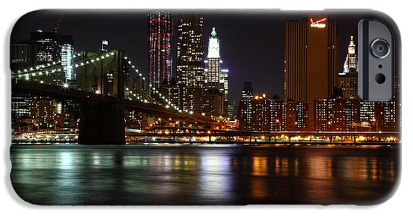 Nyc Pyrography iPhone Cases - Brooklyn Bridge At Night iPhone Case by Paslier Morgan