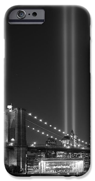 Manhatan iPhone Cases - brooklyn bridge carousel BnW iPhone Case by Michael Ver Sprill