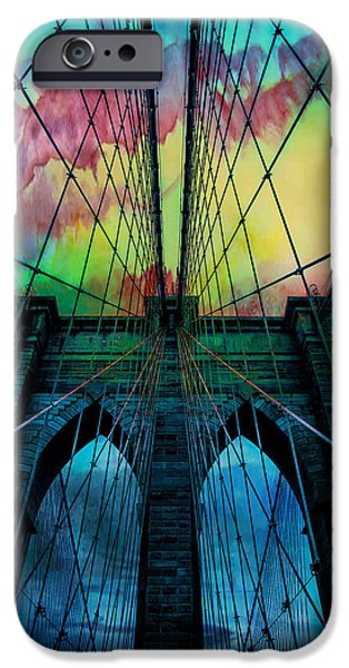 Brooklyn Bridge Digital Art iPhone Cases - Psychedelic Skies iPhone Case by Az Jackson