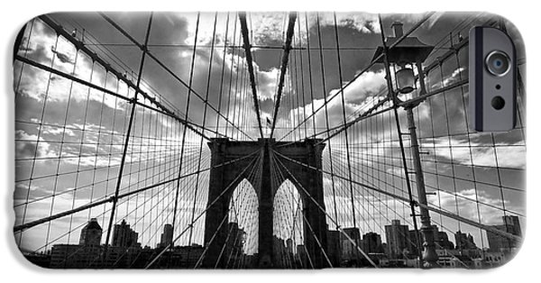 Symetry iPhone Cases - Brooklyn Bridge iPhone Case by Delphimages Photo Creations