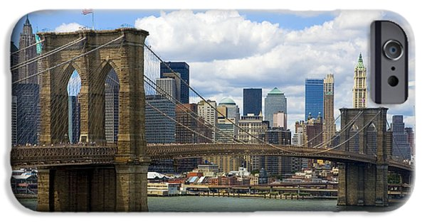 River iPhone Cases - Brooklyn Bridge iPhone Case by Diane Diederich