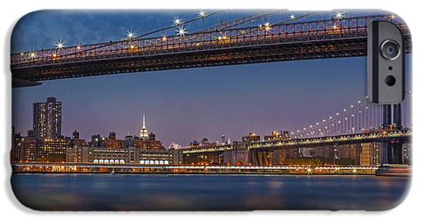 Empire State iPhone Cases - Brooklyn Bridge Frames Manhattan iPhone Case by Susan Candelario