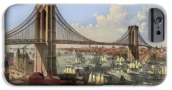 Brooklyn Bridge Digital Art iPhone Cases - Brooklyn Bridge iPhone Case by Gary Grayson