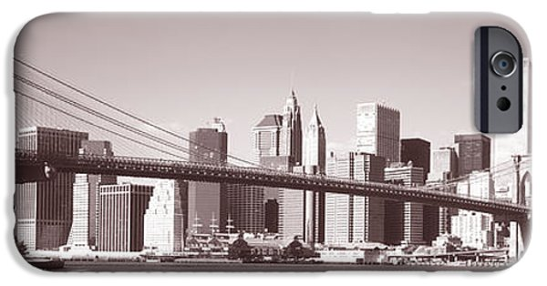 Twin Towers Nyc iPhone Cases - Brooklyn Bridge, Hudson River, Nyc, New iPhone Case by Panoramic Images