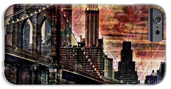 Brooklyn Bridge Mixed Media iPhone Cases - Brooklyn Bridge II iPhone Case by Christine Mayfield