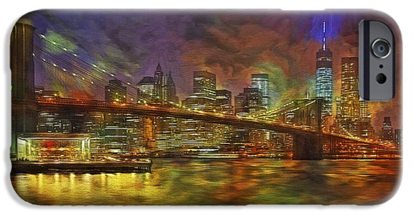 Hudson River Digital iPhone Cases - Brooklyn Bridge Impressionism iPhone Case by Susan Candelario
