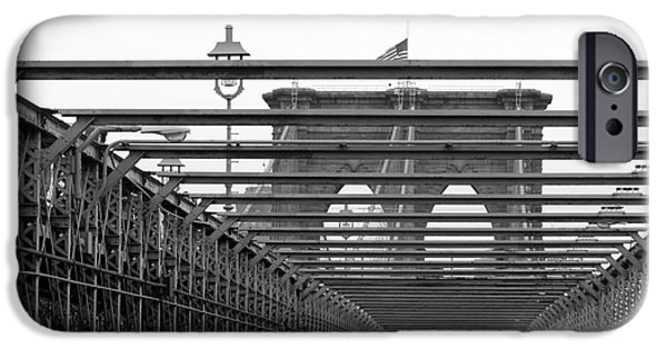 Brooklyn Bridge Mixed Media iPhone Cases - Brooklyn Bridge Black and White Photography iPhone Case by Anahi DeCanio - ArtyZen Studios