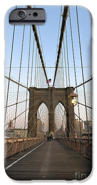 Recently Sold -  - Wintertime iPhone Cases - Brooklyn Bridge in New york city iPhone Case by Jorge Duarte Estevao