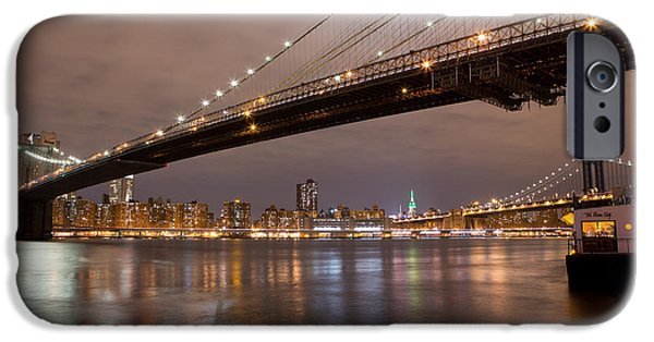 Leda Photography iPhone Cases - Brooklyn Bridge Lights iPhone Case by Leslie Leda